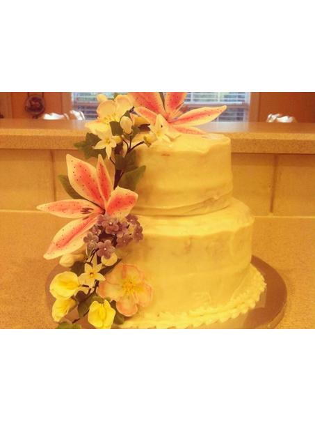 Cream Cheese icing with fondant/gum paste flowers