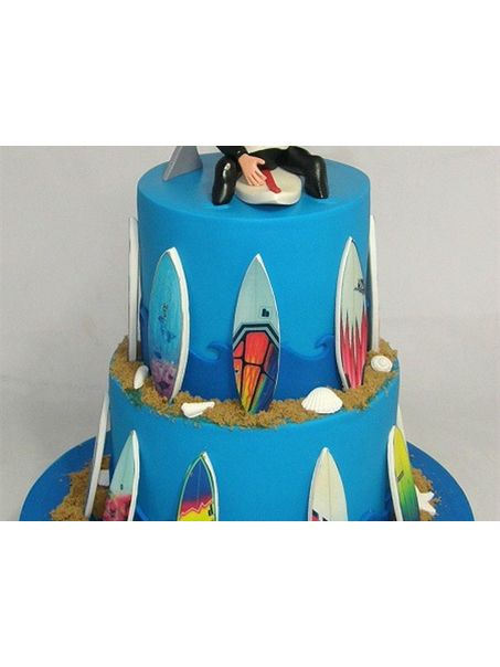 This cake was made for Peter who is turning 53 this week and an avid surfer.<p>Peter recently broke his back surfing (hence the back brace over his wet-suit) and this cake is to celebrate not only his birthday, but that his injury has now healed so he can once again hit the waves :)</p><p></p>