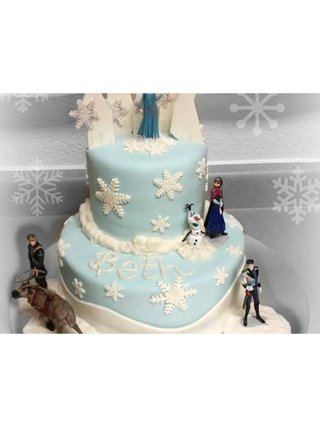 Frozen was a very popular theme when it came out and still is, and my niece's birthday being in December had her requesting a Frozen Cake.