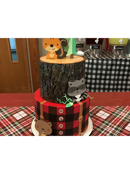 I made this cake for my cousins baby shower. The theme was lumberjack/forest animals