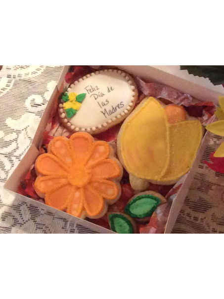 Decorated sugar cookie gift box.