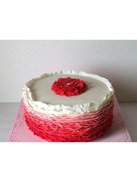 Red ombre ruffle cake for a grandmother whose favorite color was red! Love ruffles!