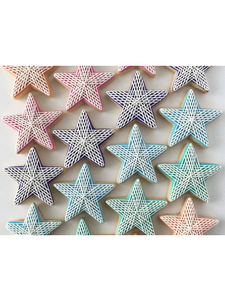 These are mini star cookies with my signature stringwork pattern.