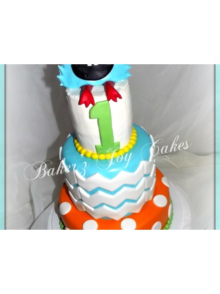 Harrison is turning 1 and this cake is perfect for him. Done in Monster/chevron/polka dot theme with the smash cake on the top in buttercream. Monster is fondant. Vanilla bean and Chocolate brownie cake.