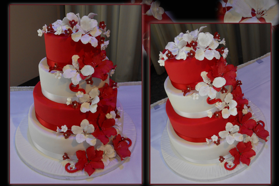 Red amp white wedding cake how to make junglespirit Gallery